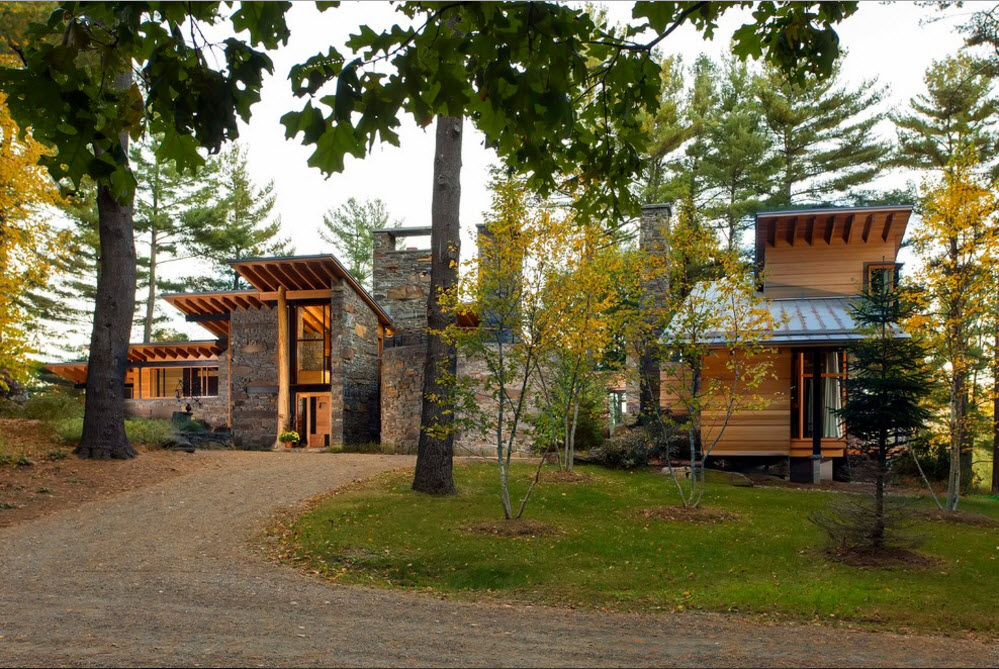 Modern Country Style Rural House. View from the entrance