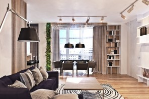 Contemporary Interior Design Style. Bookshelves and focused lighting for the modern space