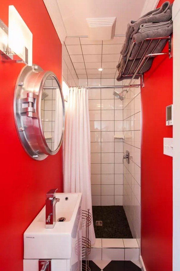 Small Bathroom Creative Remodel Ideas. Futuristic strokes in the tiny space with illuminator form of mirror