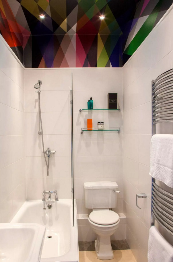 Small Bathroom Creative Remodel Ideas. Clorful ceiling in the white interior