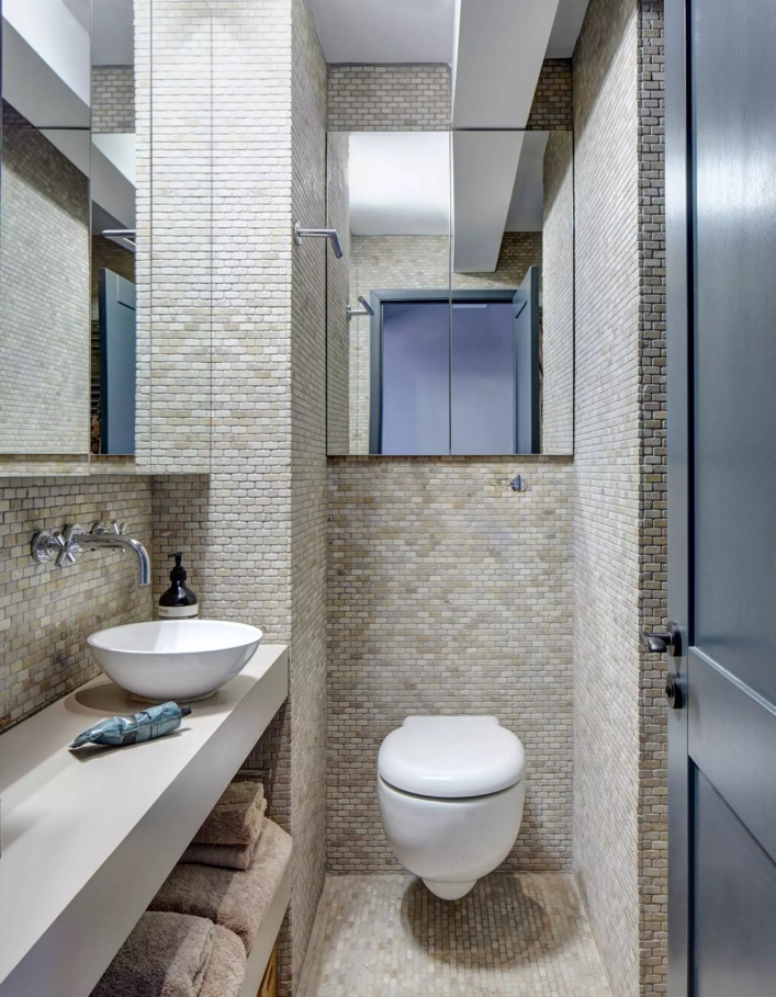 Small Bathroom Creative Remodel Ideas. Nice mosaic tile and couple of mirrors within one tiny area