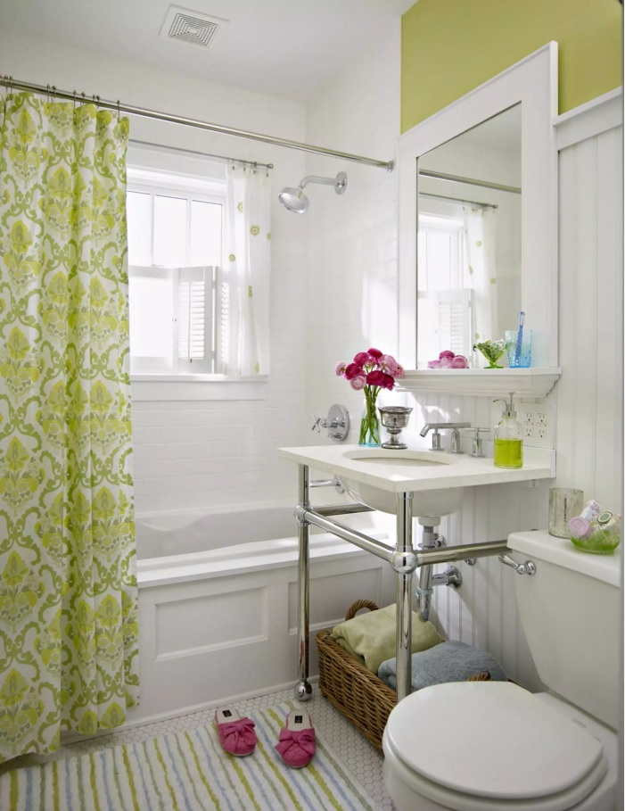 Vintage style bathroom in the white tones with bathtub curtain