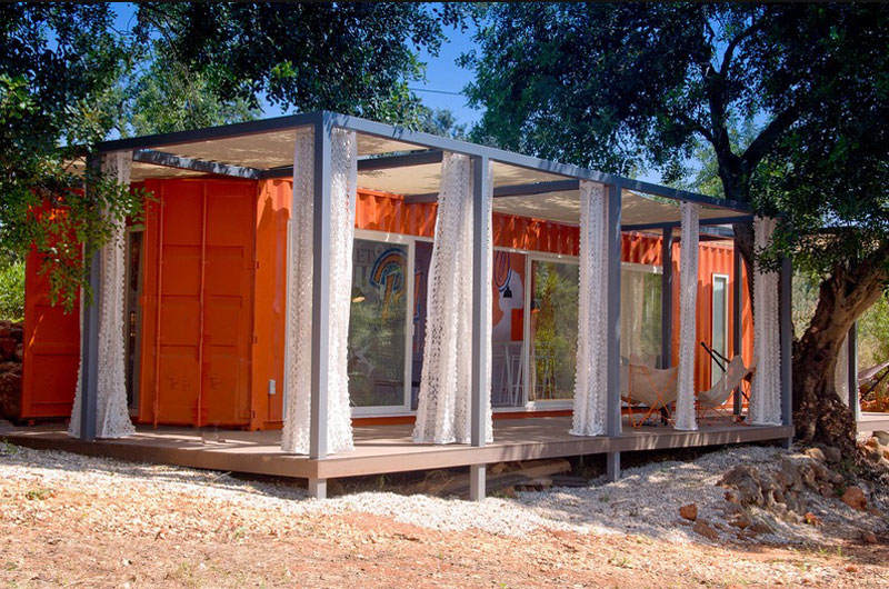 Cargo Container House Design Ideas. Orange theme and canopy