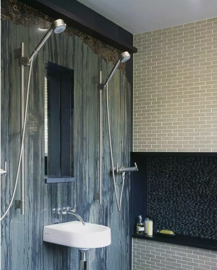 Small Bathroom Creative Remodel Ideas. Two showers in one wooden trimmed tight space