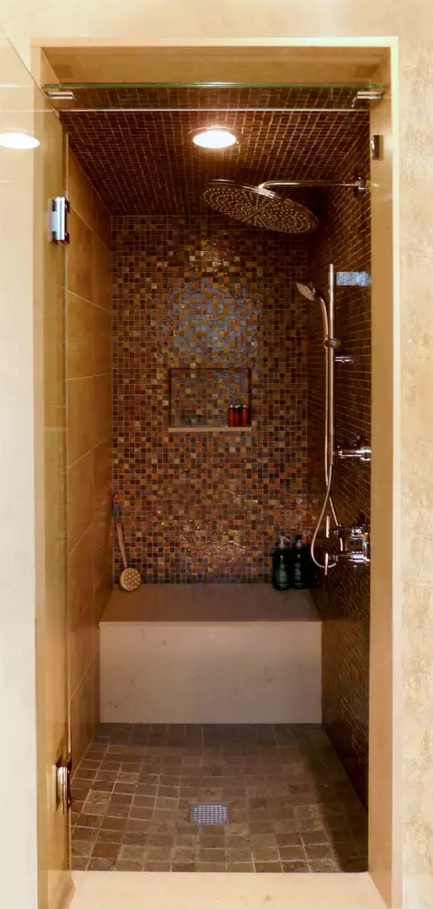 Small Bathroom Creative Remodel Ideas. golden mosaic tiles