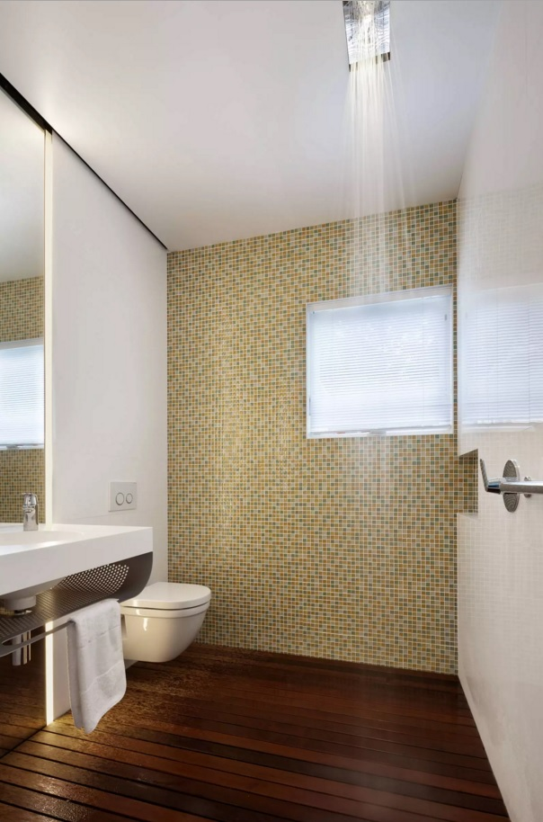 Small Bathroom Creative Remodel Ideas. Mosaic tile in the form of the cork ctructure for contemporary interior
