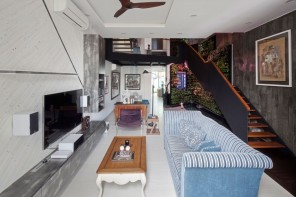 Original Compact Private House Design. Studio living room with different decorative solutions