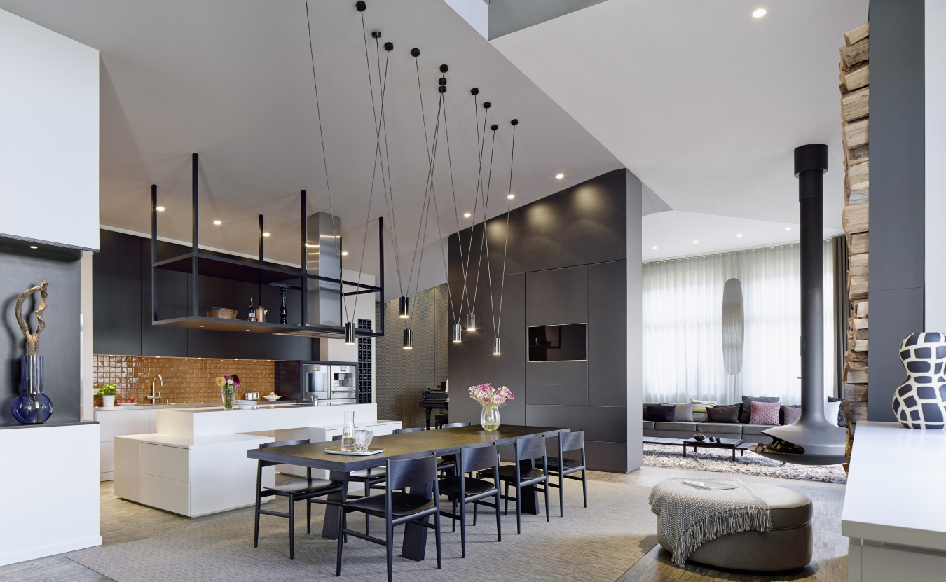 Contemporary Interior Design Style. Large spacious space with extra high ceilings