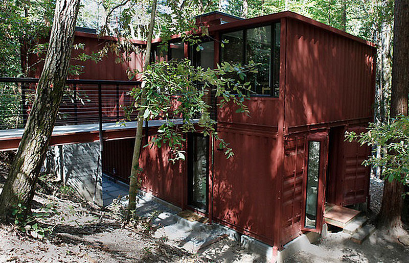 Cargo Container House Design Ideas in the forest
