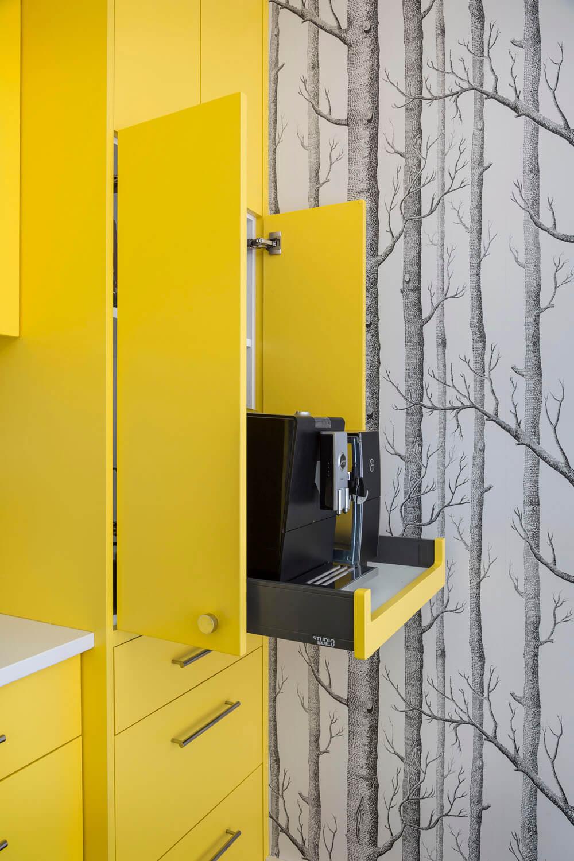 Bright Interior Design Ideas for Private House. Pullout coffe machine in the cabinet