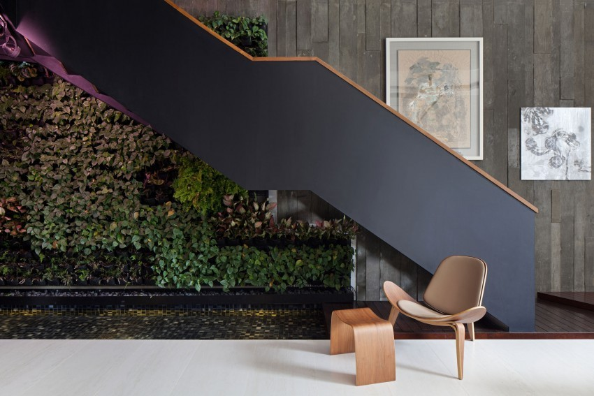 """Original Compact Private House Design. """"Live"""" wall under the stairs"""