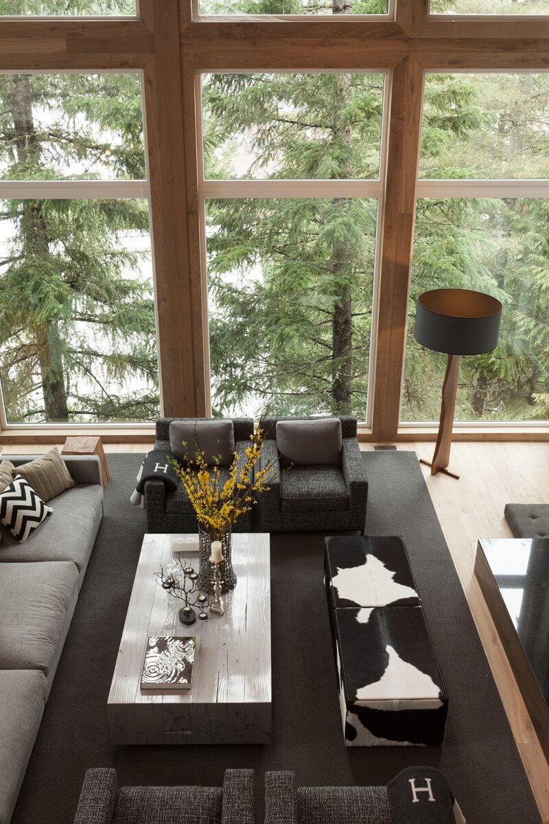 Eco Style for Country House in the Pine Forest. Close-up from the top view of the furniture set in the living room