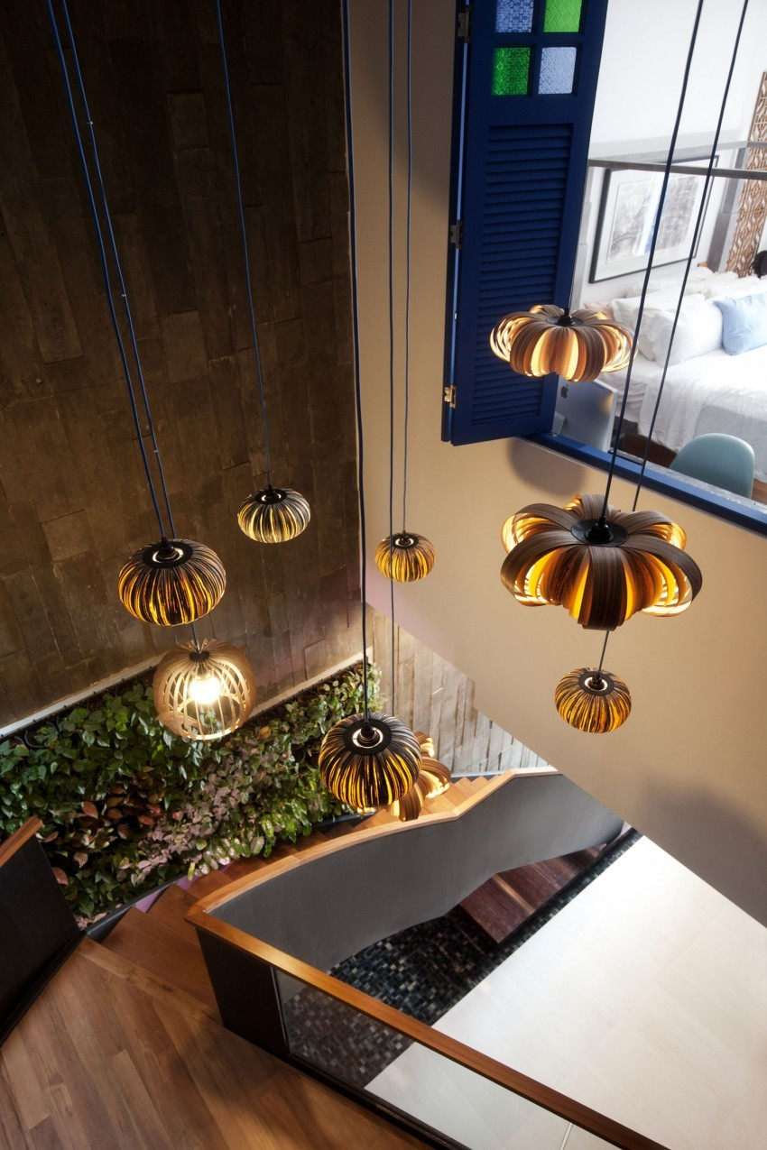 """Original Compact Private House Design. """"Pumpkins"""" shades for the pendant lamps at the stairs"""