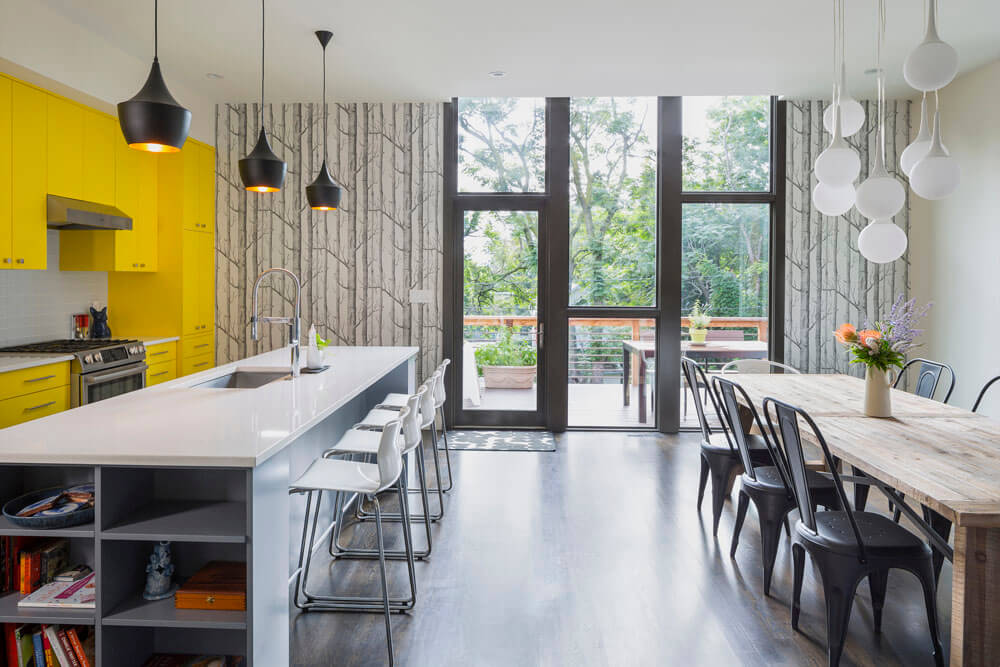 Bright Interior Design Ideas for Private House. Dining room with a lot of space for many people