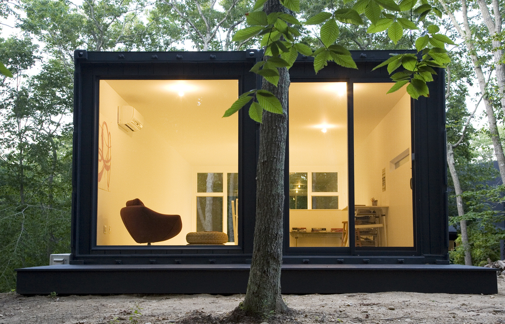Unusual black construction for the cargo shipping containers' house construction