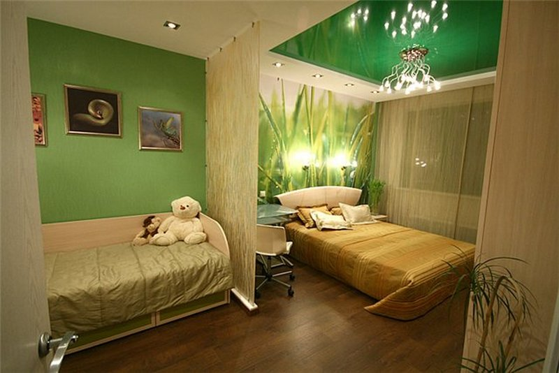 Small Condo Functional Space Ideas. Green style for the two-bed room in one space