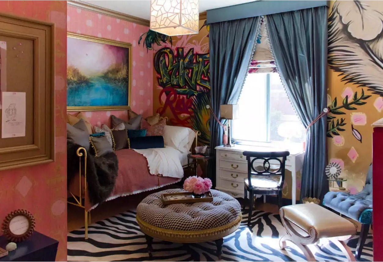 Kitsch Interior Design Style. Parody on the shabby chic style in the tight space