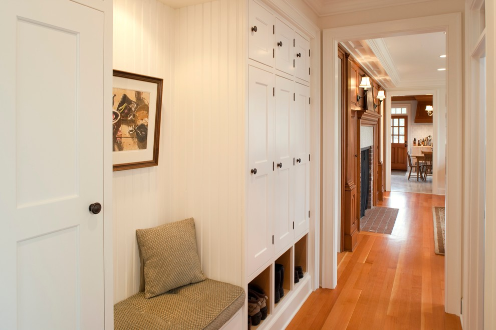 30 Bold Entry Design Ideas. Unusual decoration of small hall with soft seat and a cabinet