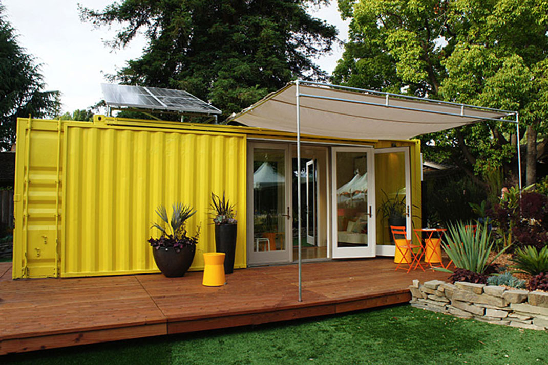 Cargo Container House Design Ideas. Yellow facade