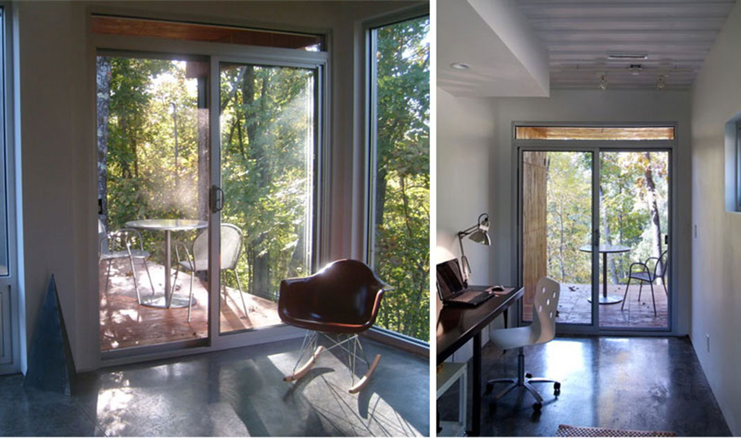 Inside the shipipng containers house with the glass panoramic windows