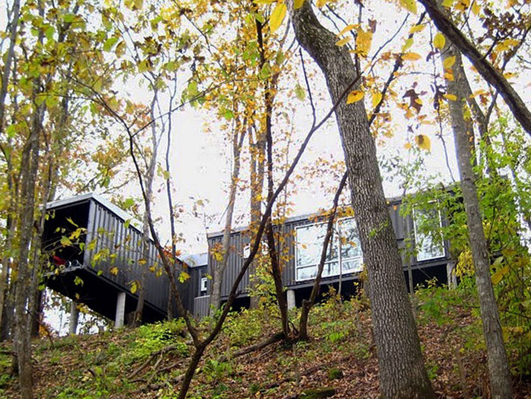 Shipping cargo containers house on the hill