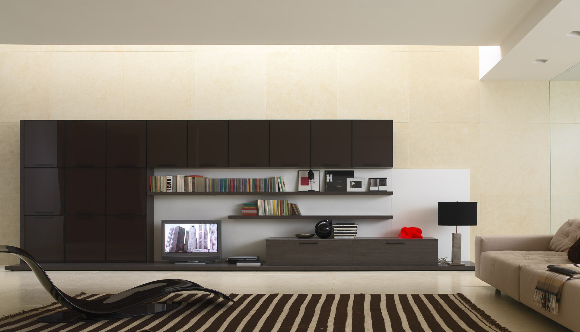 Contemporary Interior Design Style. Brown color theme for the large and minimalistic living