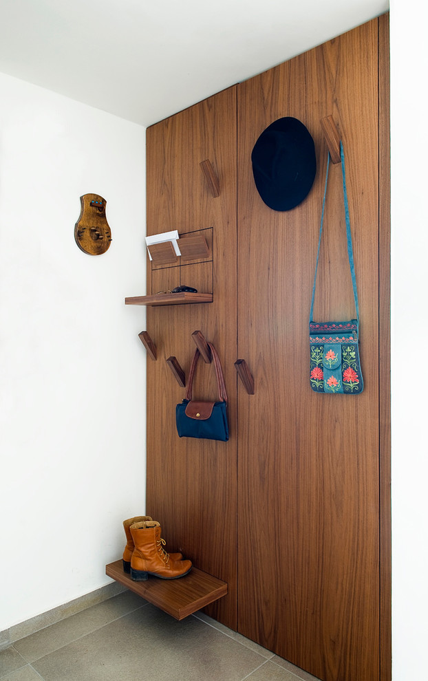 Original wall wooden plate for clothes and accessories in the white finished entry