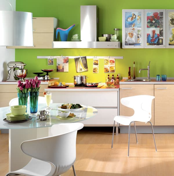 Kitchen with lime wall and wooden flooring