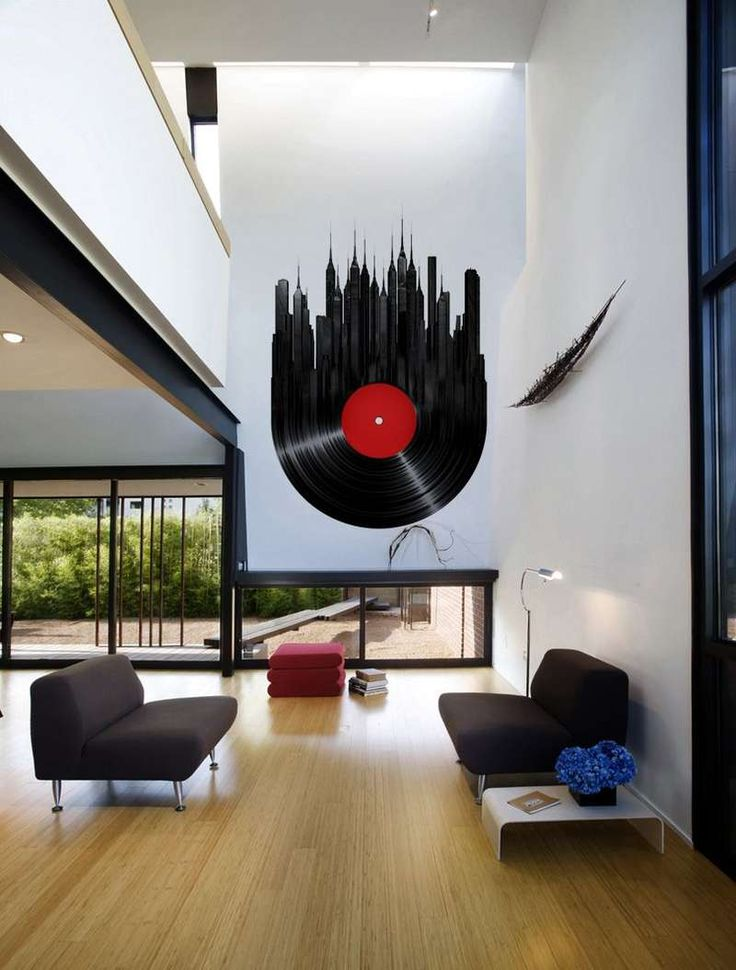 Original Interior Musical Design Ideas. Glowing music plate in high light orivate house