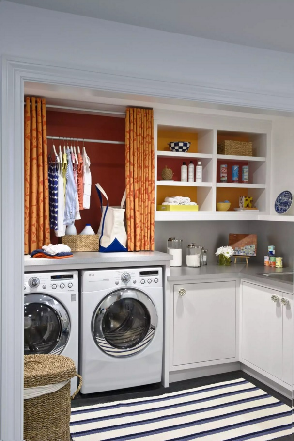 Functional and Beatiful Laundry Interior Ideas. Orange curtains add some emotion to the monotonous space