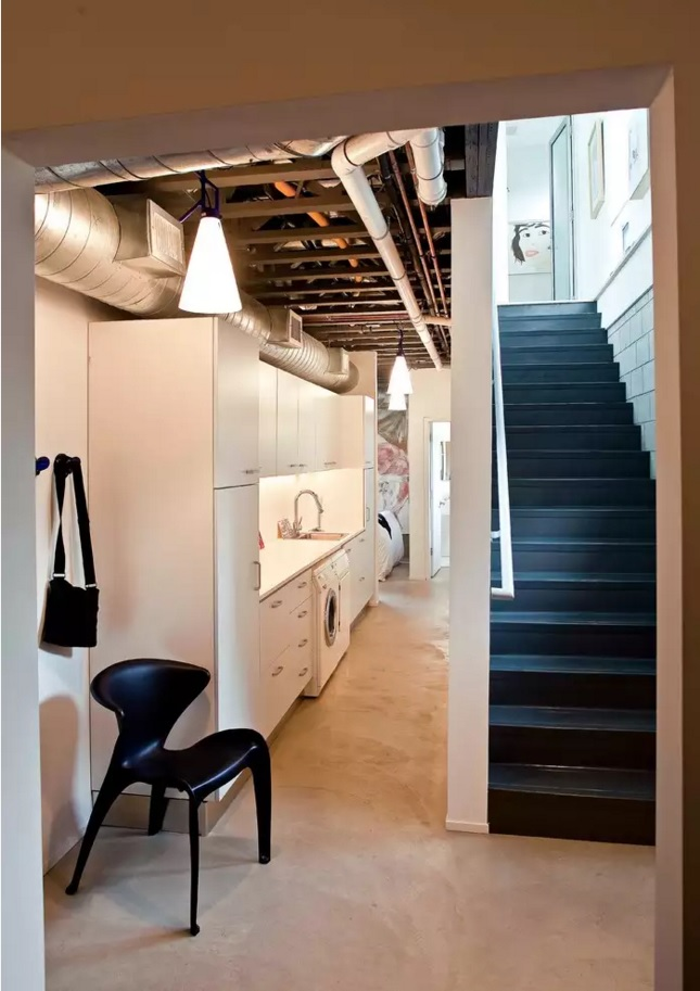 Functional and Beatiful Laundry Interior Ideas. Location under the staircase
