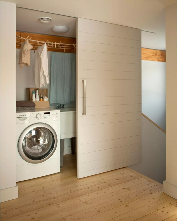 Functional and Beatiful Laundry Interior Ideas. Sliding doors for your utilitarian space