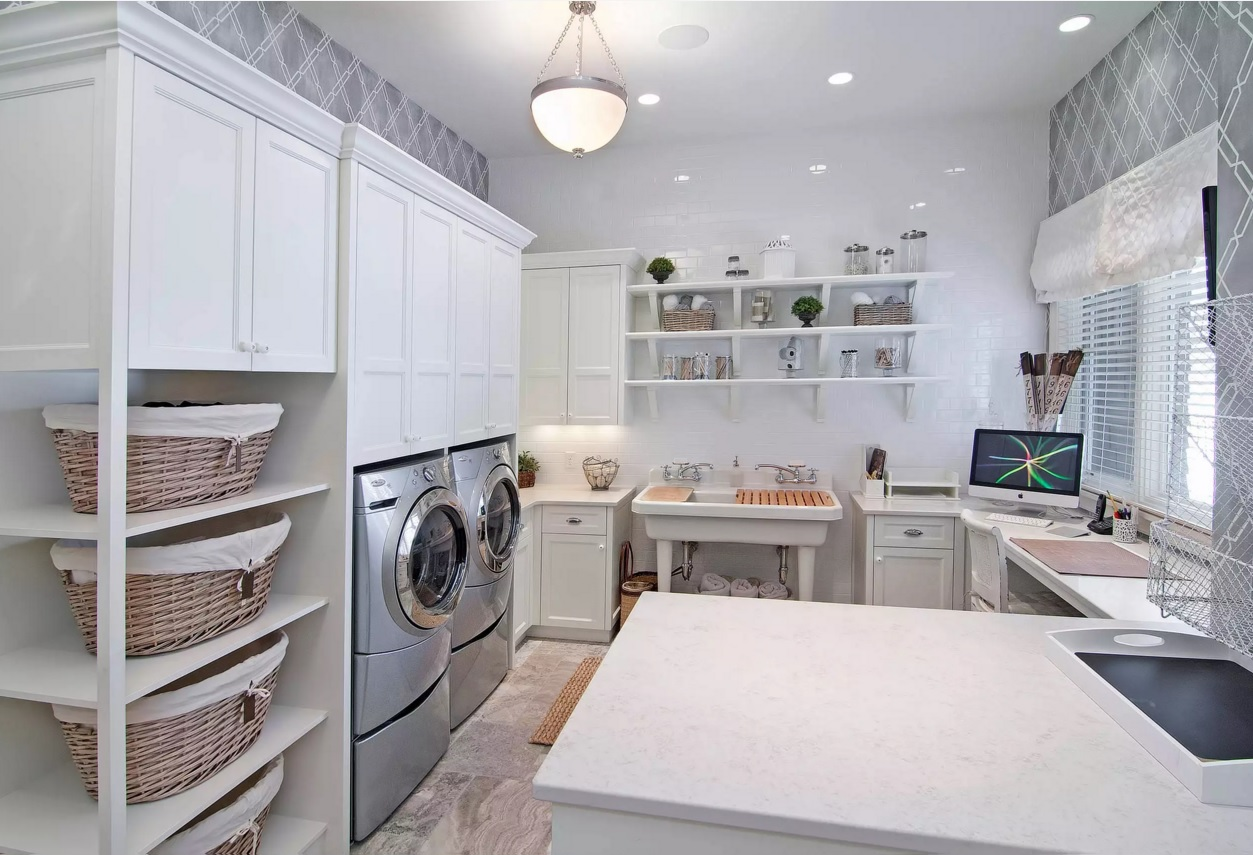 Functional and Beatiful Laundry Interior Ideas. Nice steel surfaces of the appliances