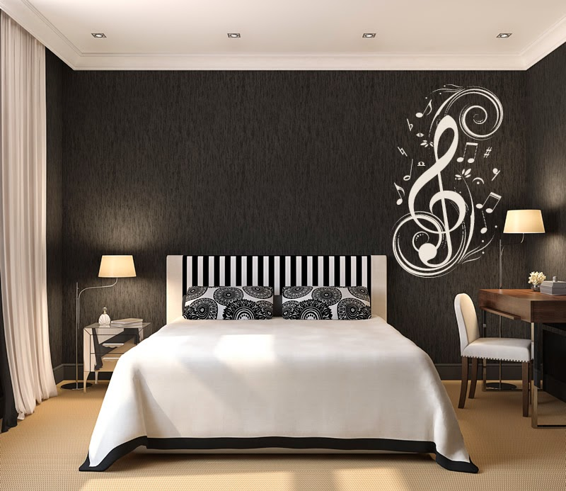 Original Interior Musical Design Ideas. Treble clef at the headboard accent wall