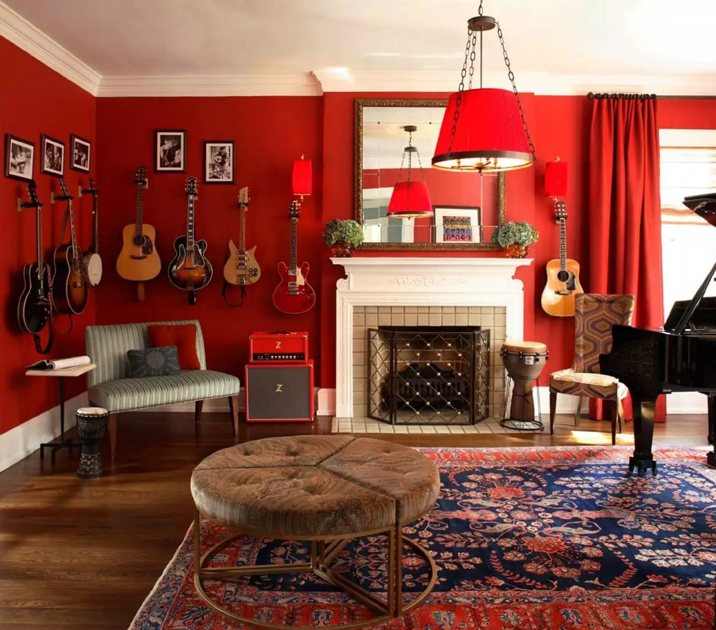 Original Interior Musical Design Ideas. A lot of instruments to show in the classic styled living room