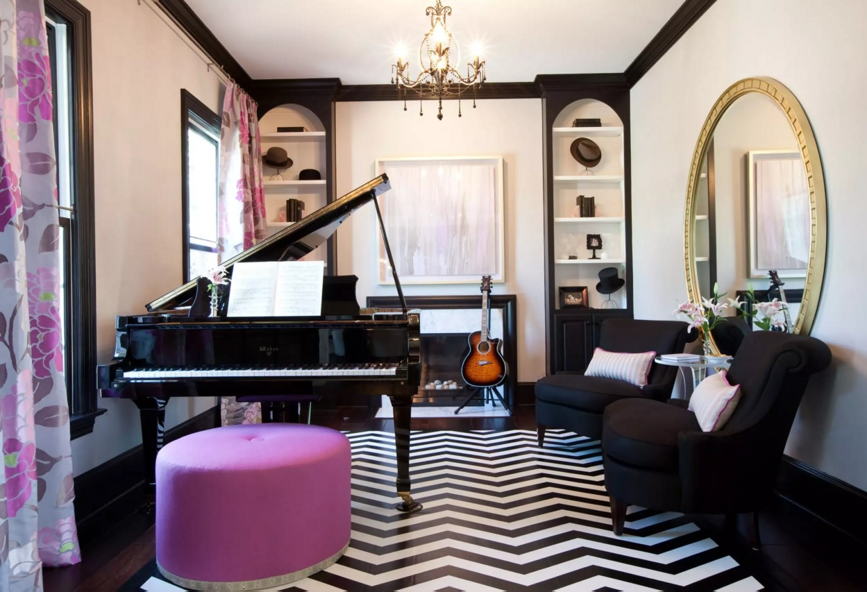Original Interior Musical Design Ideas. Black and white combination for artistic bohemian atmosphere