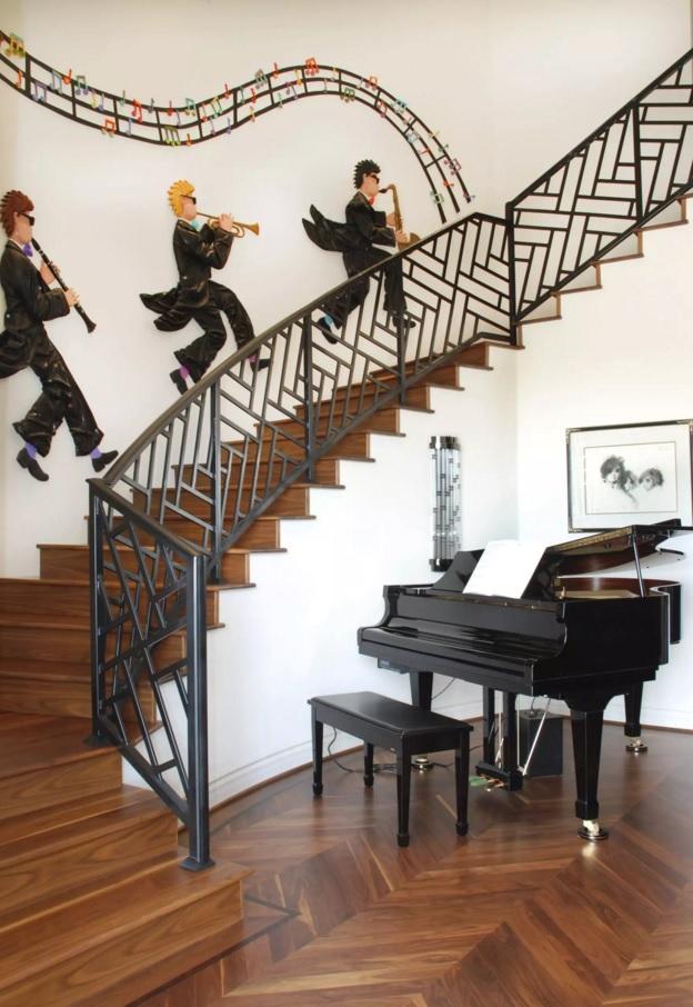 Original Interior Musical Design Ideas. Jass decorating of the stairs