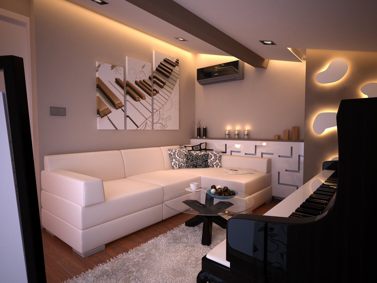 Original Interior Musical Design Ideas. Wall painting and musical instrument in the room