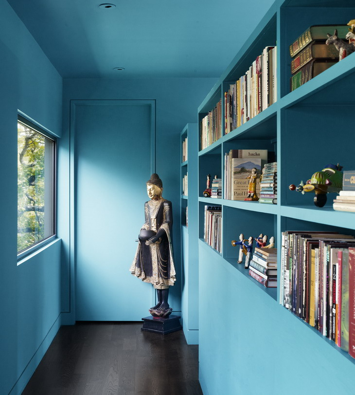 Turquoise is always nice solution for unusual hallway design