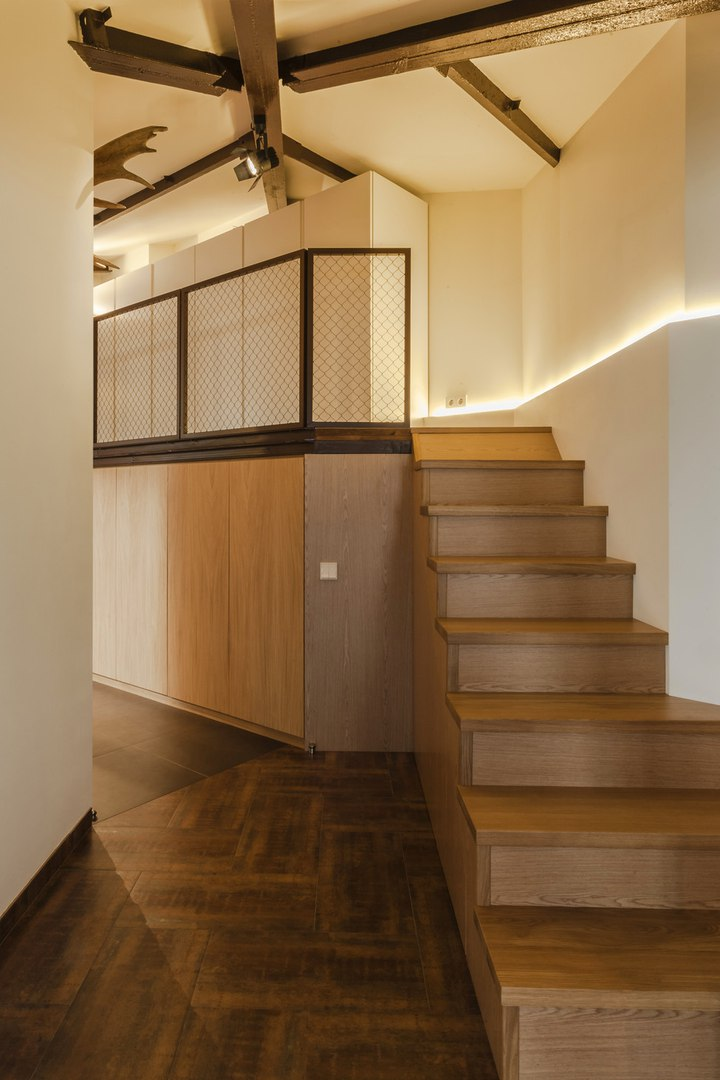 Modern Industrial Style Design of Kiev Apartment. Hallway with stairs to the upper level with small lobby and other rooms