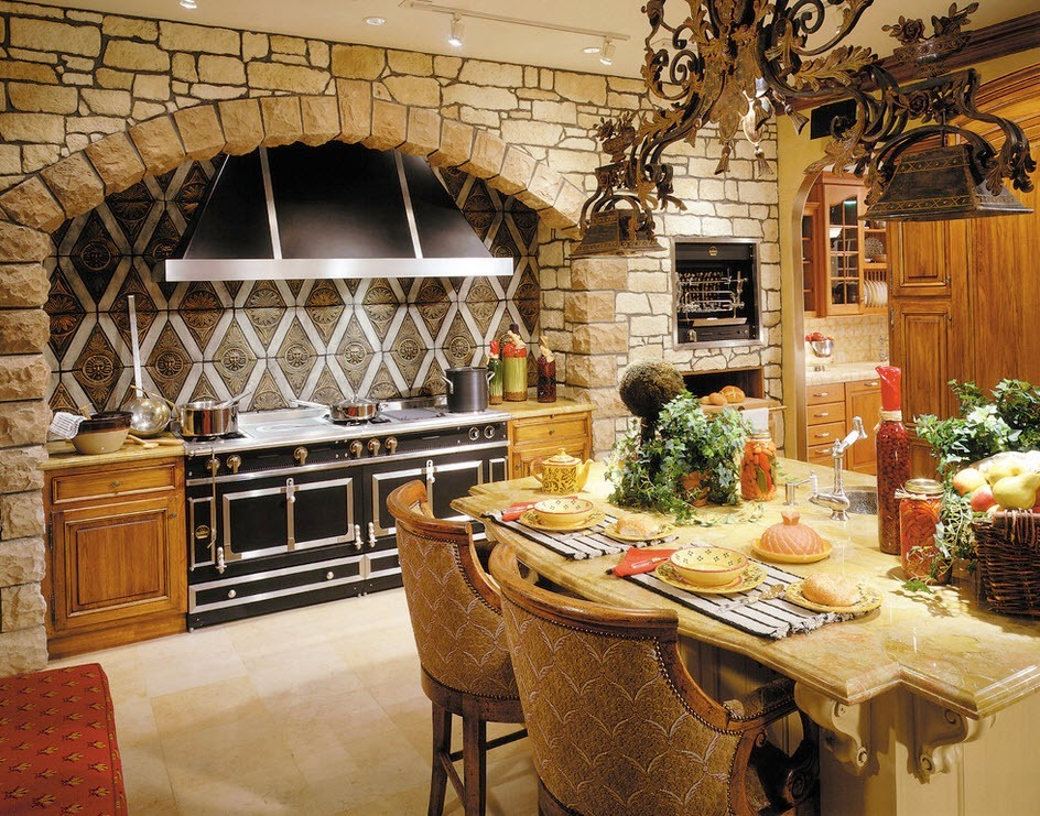 Stone Kitchen Interior Decoration Ideas. Chalet style of the space