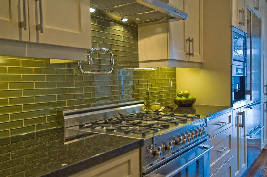 Interior Glass Tiles: Photos, Descritption, Types. Lime kitchen splashback