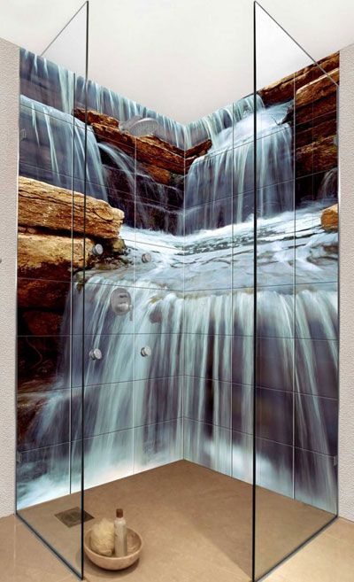 Photo Tile Types and Differences. Waterfall depicted in the bathroom