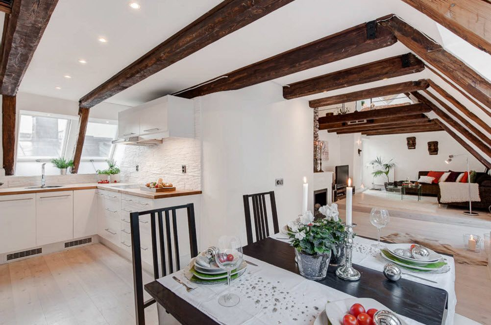Top Ceiling Beams Design Photo Ideas. White and dark wooden ceiling in the  light spacious