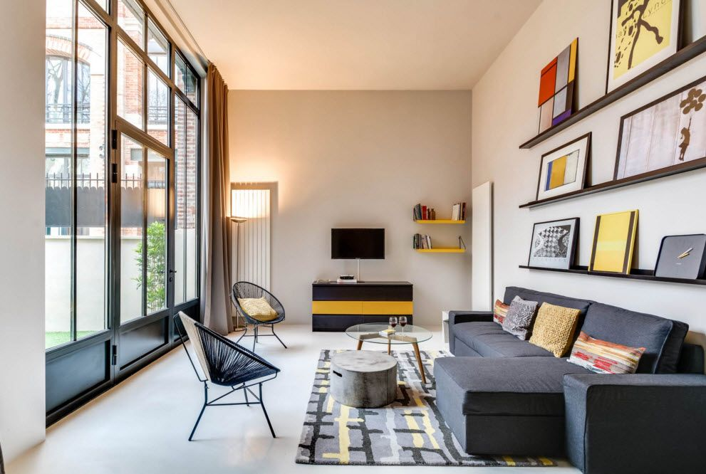 Original Industrial Apartment Design Project. Neat living room interior with warm decorating elements