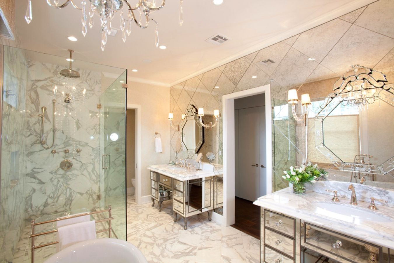 Mirror Tiles Ideas for Modern Interior Design. Bathroom and boudoir in one