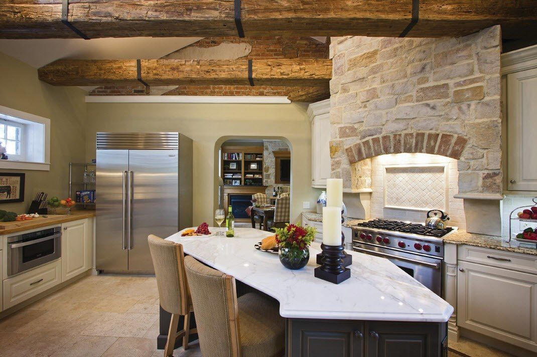 Stone Kitchen Interior Decoration Ideas. Whitewashed stone looks spectacular to face the stove