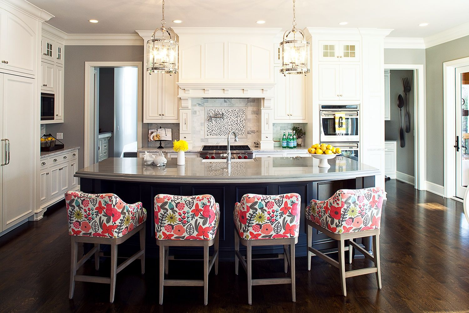 100 Kitchen Chairs Design Ideas. Red painted soft backrests for dining area stools look amazing