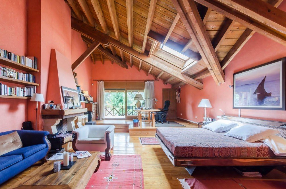 Top Ceiling Beams Design Photo Ideas. Unusual combination of natural wooden color with aspid fuchsia wall decoration