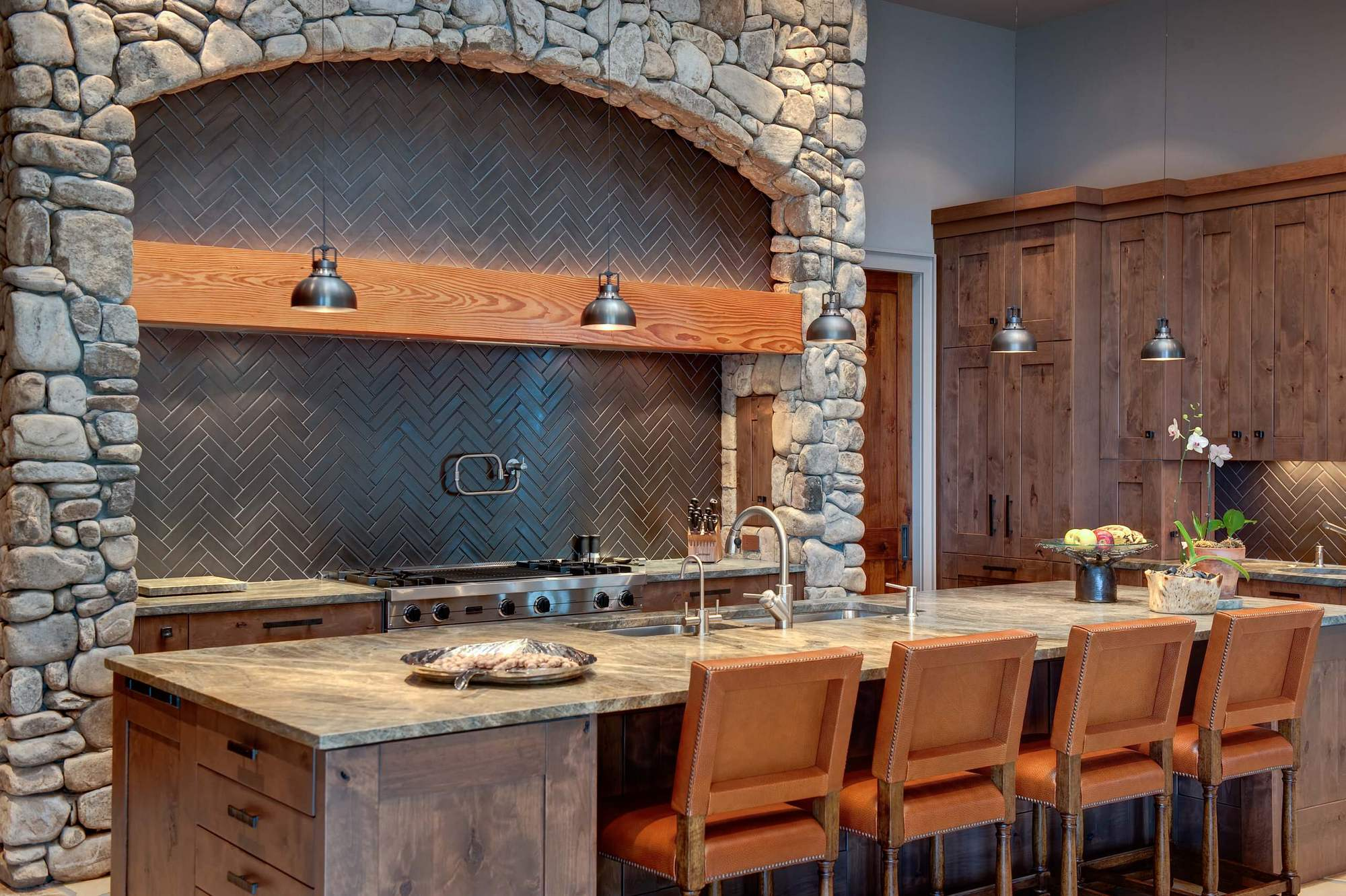Stone Kitchen Interior Decoration Ideas. Wood and rock organic symbiosis in the simple design